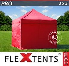 Quick-up telt FleXtents Pro 3x3m Rød, inkl. 4 sider