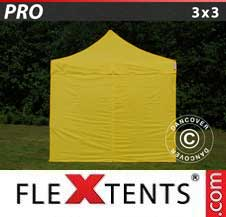 Quick-up telt FleXtents Pro 3x3m Gul, inkl. 4 sider
