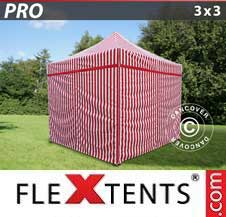 Quick-up telt FleXtents Pro 3x3m stripet, inkl. 4 sider