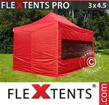 Quick-up telt FleXtents Pro 3x4,5m Rød, inkl. 4 sider