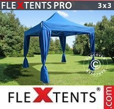 Quick-up telt FleXtents Pro 3x3m Blå, inkl. 4 dekorative gardiner