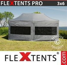 Quick-up telt FleXtents Pro 3x6m Grå, inkl. 6 sider