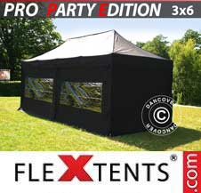 Quick-up telt FleXtents Pro 3x6m Svart, inkl. 6 sider