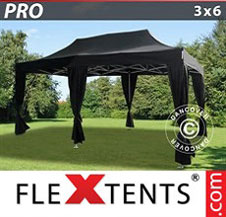 Quick-up telt FleXtents Pro 3x6m Svart, inkl. 6 dekorative gardiner
