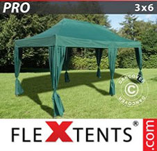 Quick-up telt FleXtents Pro 3x6m Grønn, inkl. 6 dekorative gardiner