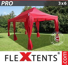 Quick-up telt FleXtents Pro 3x6m Rød, inkl. 6 dekorative gardiner
