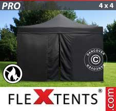 Quick-up telt FleXtents Pro 4x4m Svart, Flammehemmende, inkl. 4 sider
