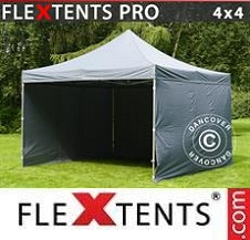 Quick-up telt FleXtents Pro 4x4m Grå, inkl. 4 sider