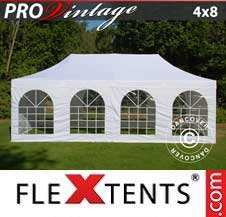 Quick-up telt FleXtents Pro 4x8m Hvit, inkl. 6 sider