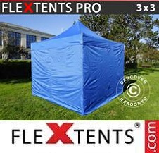 Quick-up telt FleXtents Pro 3x3m Blå, inkl. 4 sider