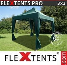 Quick-up telt FleXtents Pro 3x3m Grønn, inkl. 4 dekorative gardiner
