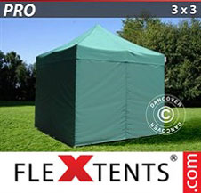 Quick-up telt FleXtents Pro 3x3m Grønn, inkl. 4 sider