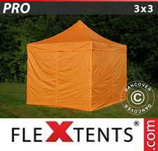 Quick-up telt FleXtents Pro 3x3m Oransje, inkl. 4 sider
