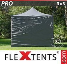 Quick-up telt FleXtents Pro 3x3m Grå, inkl. 4 sider