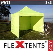 Quick-up telt FleXtents Pro 3x3m Neongul/grønn, inkl. 4 sider