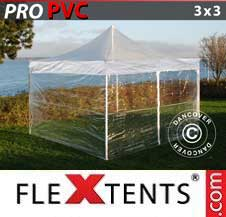 Quick-up telt FleXtents Pro 3x3m Transparent, inkl. 4 sider