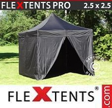 Quick-up telt FleXtents Pro 2,5x2,5m Svart, inkl. 4 sider