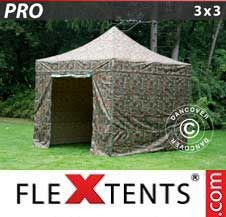 Quick-up telt FleXtents Pro 3x3m Kamuflasje, inkl. 4 sider