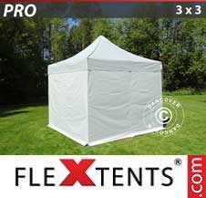 Quick-up telt FleXtents Pro 3x3m Sølv, inkl. 4 sider