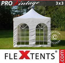 Quick-up telt FleXtents Pro 3x3m Hvit, inkl. 4 sider