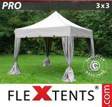 Quick-up telt FleXtents Pro 3x3m Latte, inkl. 4 dekorative gardiner