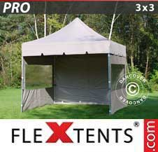 Quick-up telt FleXtents Pro 3x3m Latte, inkl. 4 sider