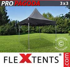 Quick-up telt FleXtents Pro 3x3m Svart, inkl. 4 sidevegger