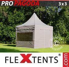 Quick-up telt FleXtents Pro 3x3m Latte, inkl. 4 sidevegger