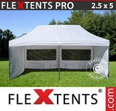 Quick-up telt FleXtents Pro 2,5x5m Hvit, inkl. 6 sider
