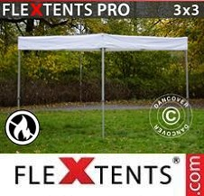 Quick-up telt FleXtents Pro 3 x 3 m hvit, flammehemmet