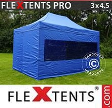Quick-up telt FleXtents Pro 3x4,5m Blå, inkl. 4 sider