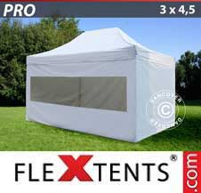 Quick-up telt FleXtents Pro 3x4,5m Hvit, inkl. 4 sider