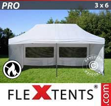 Quick-up telt FleXtents Pro 3x6m Hvit, Flammehemmende inkl. 6 sider