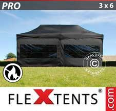 Quick-up telt FleXtents Pro 3x6m Svart, Flammehemmende, inkl. 6 sider