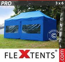 Quick-up telt FleXtents Pro 3x6m Blå, inkl. 6 sider