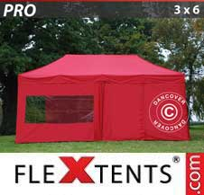 Quick-up telt FleXtents Pro 3x6m Rød, inkl. 6 sider