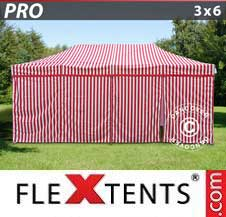 Quick-up telt FleXtents Pro 3x6m stripet, inkl. 6 sider