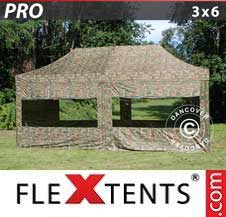 Quick-up telt FleXtents Pro 3x6m Kamuflasje, inkl. 6 sider